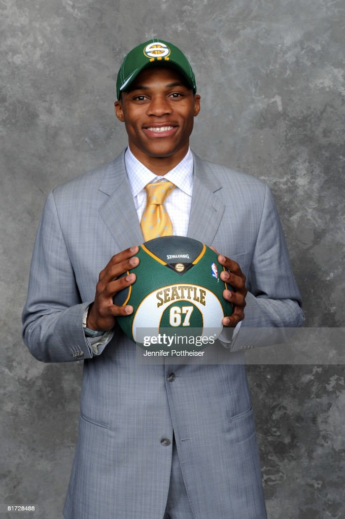 Russell Westbrook selected number four overall by the Seattle SuperSonics poses for a portrait backstage during the 2008 NBA Draft on June 26, 2008 at the WaMu Theatre at Madison Square Garden in New York City.