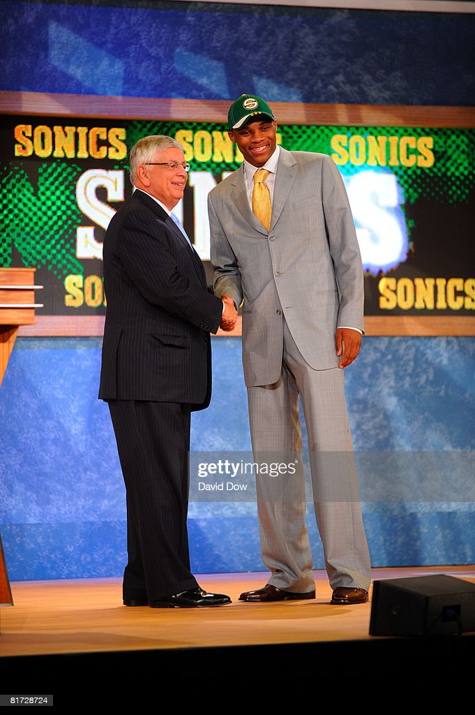 Russell Westbrook shakes Commissioner David Stern's hand after being selected number four overall by the Seattle Supersonics during the 2008 NBA Draft on June 26, 2008 at the WaMu Theatre at Madison Square Garden in New York City.