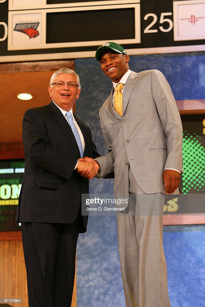 Russell Westbrook shakes hands with NBA Commissioner David Stern after being selected fourth overall by the Seattle SuperSonics during the 2008 NBA Draft on June 26, 2008 at the WaMu Theatre at Madison Square Garden in New York City.