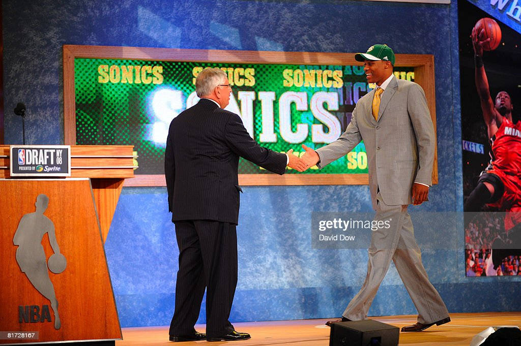 Russell Westbrook shakes NBA Commissioner David Stern's hand after being selected number four overall by the Seattle SuperSonics during the 2008 NBA Draft on June 26, 2008 at the WaMu Theatre at Madison Square Garden in New York City.