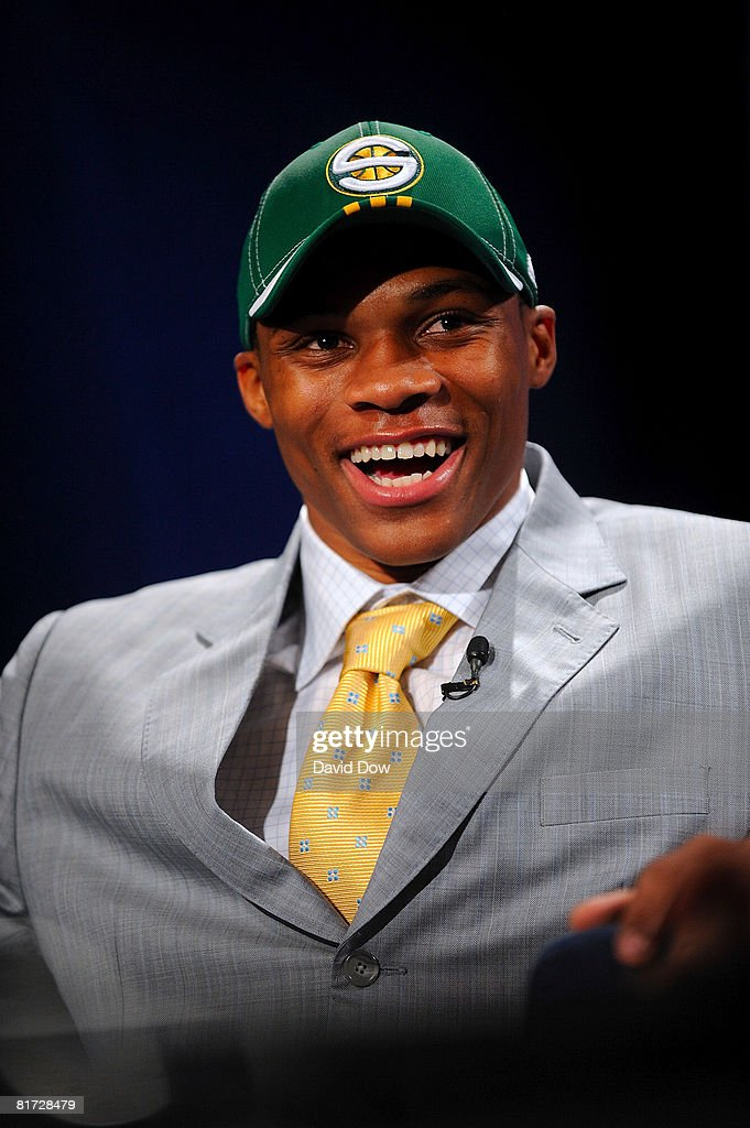 Russell Westbrook smiles after being selected number four overall by the Seattle Supersonics during the 2008 NBA Draft on June 26, 2008 at the WaMu Theatre at Madison Square Garden in New York City.