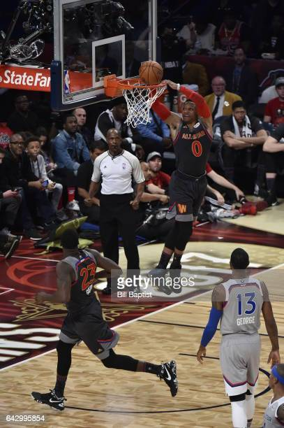 Russell Westbrook the Western Conference dunks the ball against the Eastern Conference during the NBA AllStar Game as a part of 2017 AllStar Weekend...