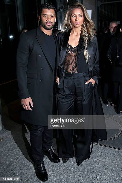 Russell Wilson and Ciara arrive at the Givenchy show as part of the Paris Fashion Week Womenswear Fall/Winter 2016/2017 on March 6 2016 in Paris...