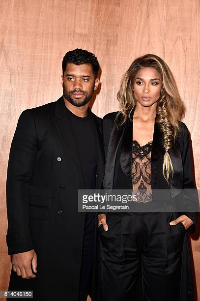 Russell Wilson and Ciara attend the Givenchy show as part of the Paris Fashion Week Womenswear Fall/Winter 2016/2017 on March 6 2016 in Paris France