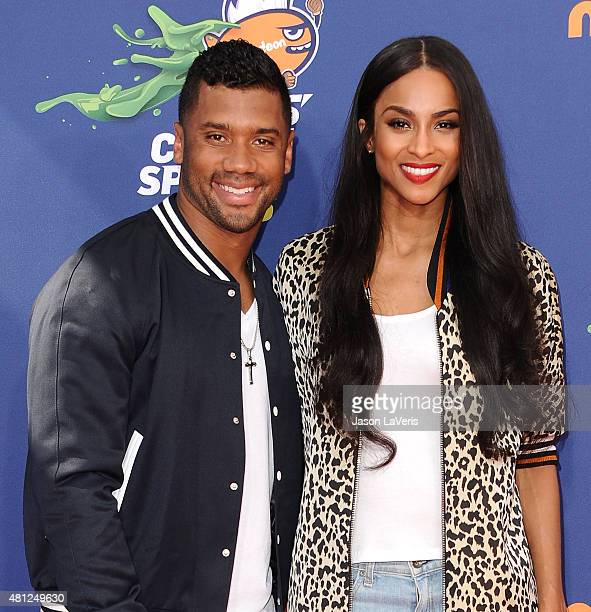 Russell Wilson and Ciara attend the Nickelodeon Kids' Choice Sports Awards at UCLA's Pauley Pavilion on July 16 2015 in Westwood California