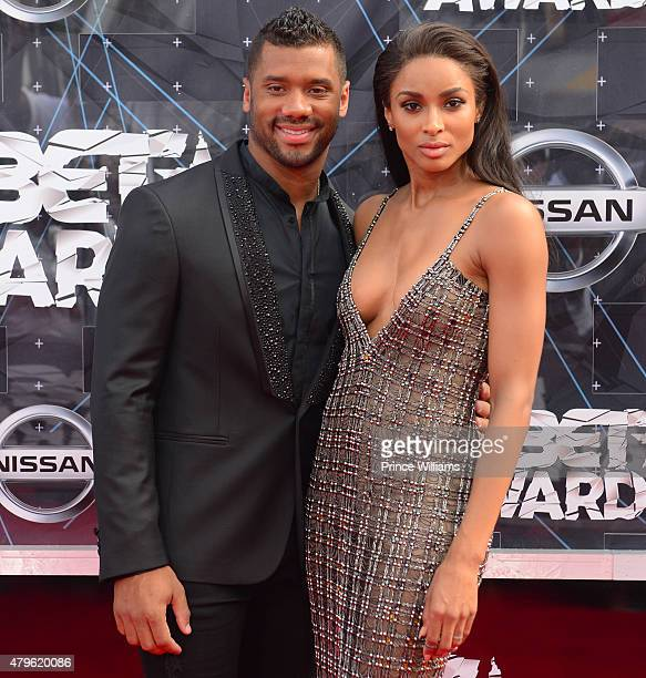 Russell Wilson and Ciara attends the 2015 BET awards on June 28 2015 in Los Angeles California