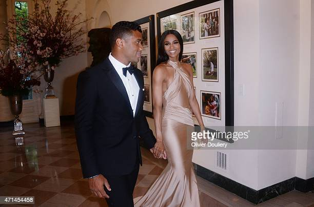 Russell Wilson from the Seattle Seahawks and Ciara Harris arrive for the State dinner in honor of Japanese Prime Minister Shinzo Abe And Akie Abe...