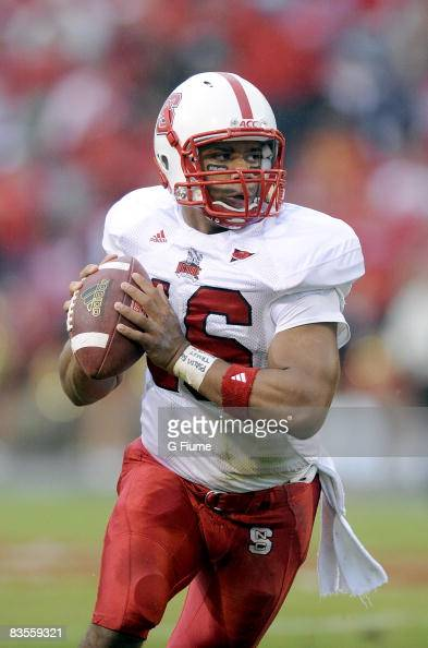 Russell Wilson of the North Carolina State Wolfpack drops back to pass against the Maryland Terrapins on October 25 2008 at Byrd Stadium in College...