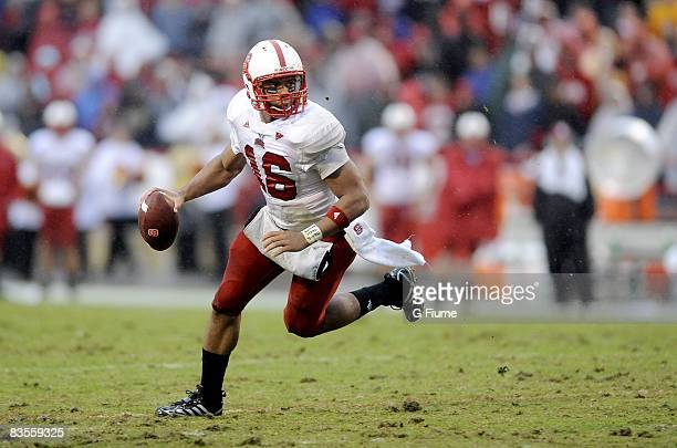 Russell Wilson of the North Carolina State Wolfpack runs with the ball against the Maryland Terrapins on October 25 2008 at Byrd Stadium in College...