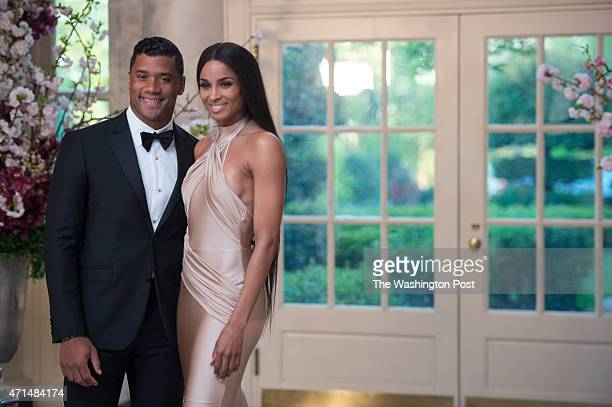 Russell Wilson Seattle Seahawks and Ciara Harris arrive at the White House for a state dinner with the Japan's Prime Minister Shinzo Abe and his wife...