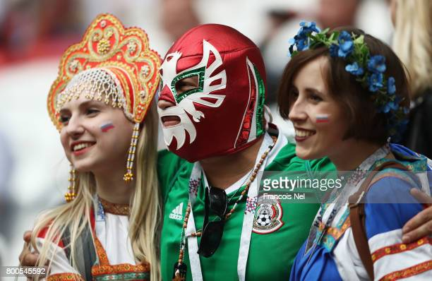 Russia and Mexico supporters enjoy the atmosphere prior to during the FIFA Confederations Cup Russia 2017 Group A match between Mexico and Russia at...