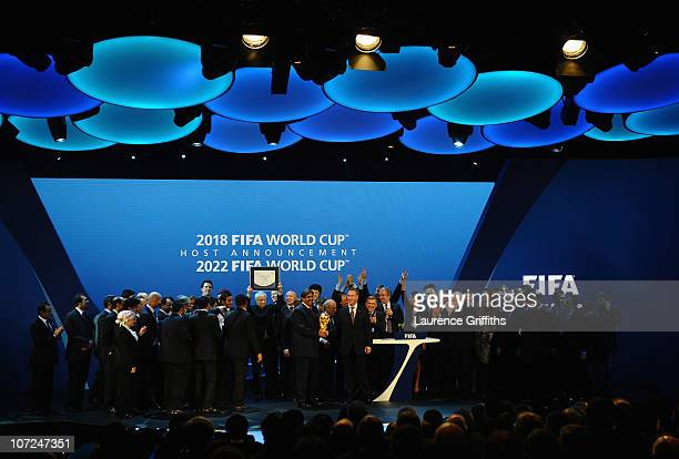 Russia and Qatar celebrate winning their bids on stage during the FIFA World Cup 2018 2022 Host Countries Announcement at the Messe Conference Centre...