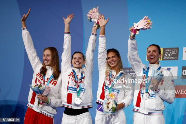 Russia celebrate Silver in the Women's 4x100m Medley Relay Final on day seventeen of the Budapest 2017 FINA World Championships on July 30 2017 in...
