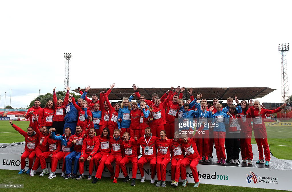 Russia celebrate victory after day two of the European Athletics Team Championships at Gateshead International Stadium on June 23, 2013 in Gateshead, England.