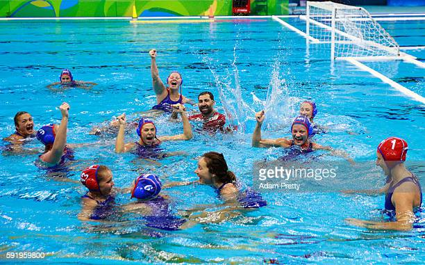 Russia celebrate winning the bronze during the Women's Water Polo Bronze Medal match between Hungary and Russia on Day 14 of the Rio 2016 Olympic...