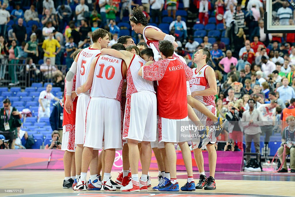 Russia celebrates their 83-74 victory against Lithuania during the Men's Basketball quaterfinal game on Day 12 of the London 2012 Olympic Games at North Greenwich Arena on August 8, 2012 in London, England.