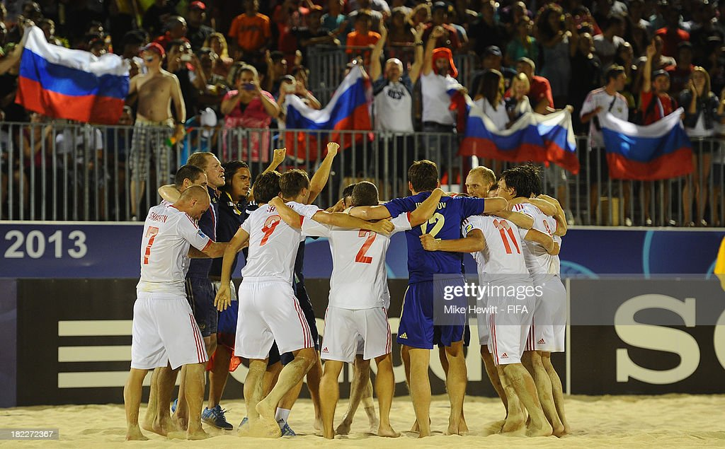 Russia celebrates victory in the FIFA Beach Soccer World Cup Tahiti 2013 Final between Spain and Russiai at the Tahua To'ata Stadium on September 28, 2013 in Papeete, French Polynesia.