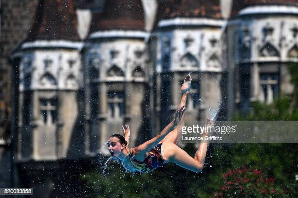 Russia compete during the Synchronised Swimming Team Free final on day eight of the Budapest 2017 FINA World Championships on July 21 2017 in...