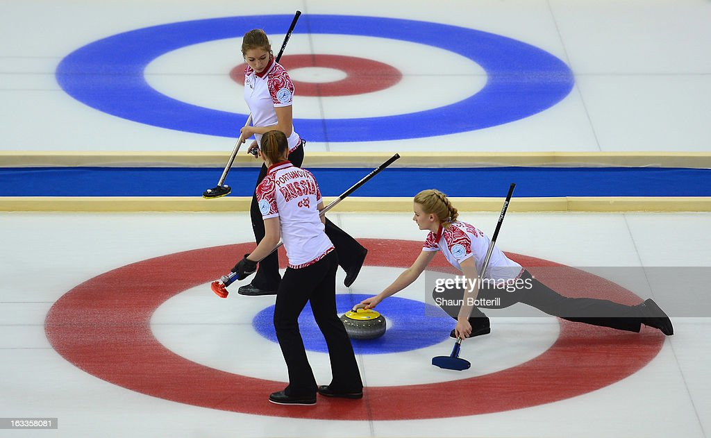 Russia compete in the World Junior Curling Championships at Ice Cube Curling Center on March 8, 2013 in Sochi, Russia.