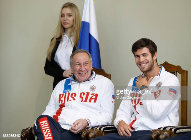 Russia Davis Cup team captain Shamil Tarpischev smiles with Karen Khachanov during the official draw ceremony ahead of the World Group Davis Cup tie...