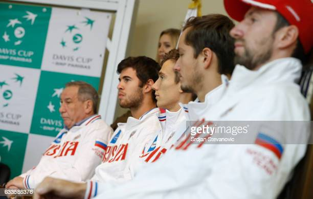 Russia Davis Cup team players and team captain Shamil Tarpischev Karen Khachanov Andrey Kuznetsov Daniil Medvedev and Konstantin Kravchuk look on...