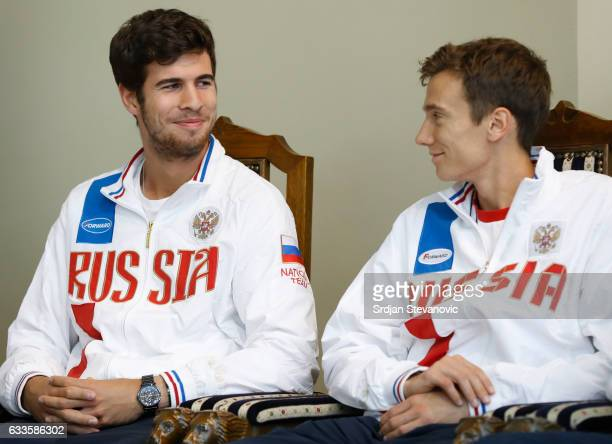 Russia Davis Cup team players Karen Khachanov and Andrey Kuznetsov smile during the official draw ceremony ahead of the World Group Davis Cup tie...
