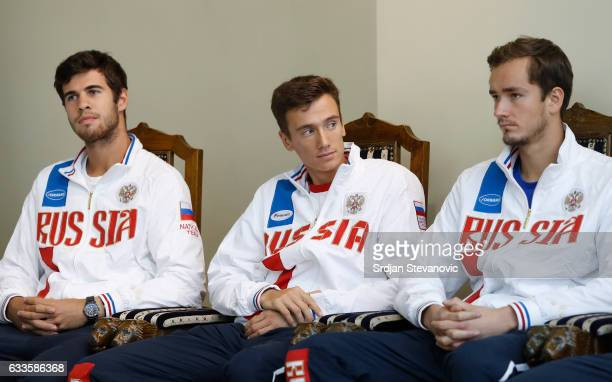 Russia Davis Cup team players Karen Khachanov Andrey Kuznetsov and Daniil Medvedev look on during the official draw ceremony ahead of the World Group...