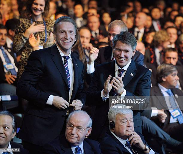 Russia Deputy Prime Minister Igor Shuvalov and Alexei Sorokin of the Russia 2018 bid celebrate winning the right to host the 2018 World Cup during...