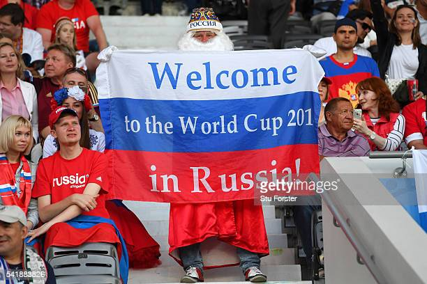 Russia fan with his 2018 World Cup flag before the UEFA EURO 2016 Group B match between Russia and Wales at Stadium Municipal on June 20 2016 in...