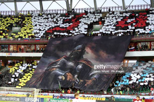 Russia fans in the stands unveil a giant work of art