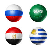 3D soccer balls with group A teams flags, Football competition Russia 2018. isolated on white