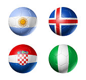 3D soccer balls with group D teams flags, Football competition Russia 2018. isolated on white