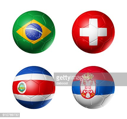 Russia football 2018 group E flags on soccer balls : Stock Photo