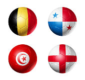 3D soccer balls with group G teams flags, Football competition Russia 2018. isolated on white