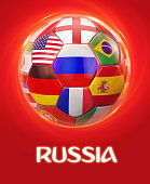 Russia football with participating national teams flags in world soccer tournament. Clipping path included for easy selection.