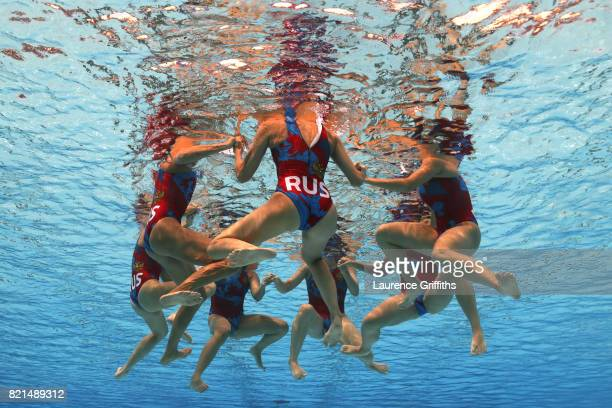 Russia huddle during the Women's Water Polo quarter final between Italy and Russia on day eleven of the Budapest 2017 FINA World Championships on...