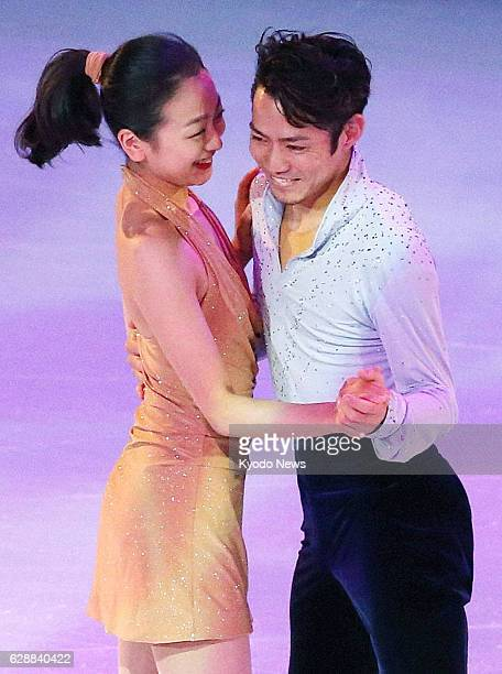 SOCHI Russia Japan's Mao Asada and Daisuke Takahashi skate together during a figure skating exhibition at the Winter Olympics in Sochi Russia on Feb...