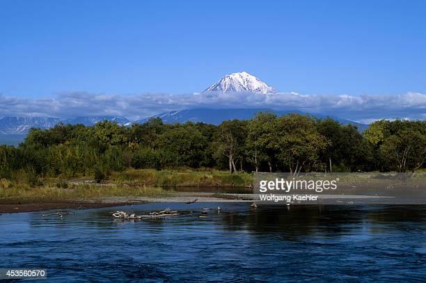 Russia Kamchatka Near Petropavlovsk View Of Koryak Volcano Avacha River