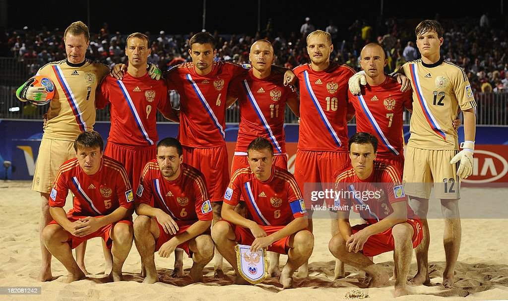 Russia line up for a team photo ahead of the FIFA Beach Soccer World Cup Tahiti 2013 Semi Final match between Russia and Tahiti at the Tahua To'ata Stadium on September 27, 2013 in Papeete, French Polynesia.