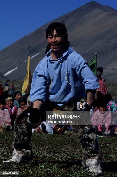 Russia Magadan Region Chukotskiy Novoye Chaplino Hunter's Festival Inuit Man Participating In Traditional Dance