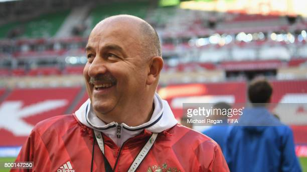 Russia manager Stanislav Cherchesov looks on during the Russia training session at Kazan Arena on June 23 2017 in Kazan Russia