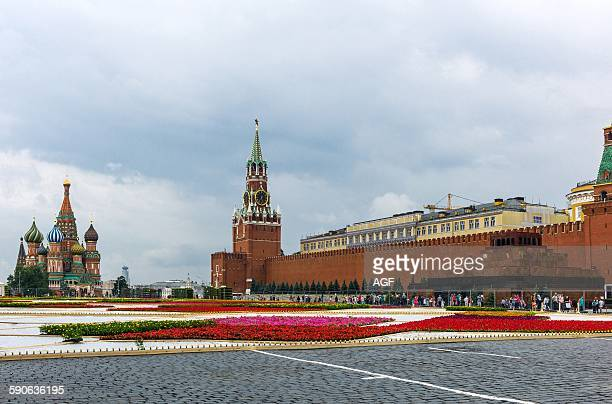 Russia Moscow a flower carpet in the Red Square with the Kremlin and the St Basil's Cathedral in the background