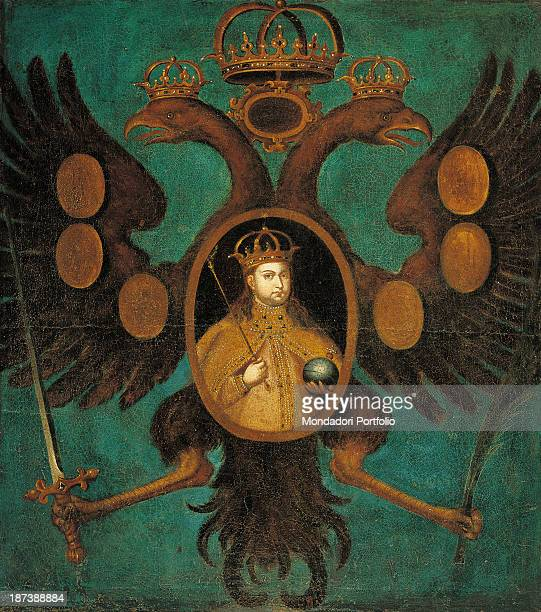 Russia Moscow Gosudarstvennyj Istoriceskij Muzej All Portrait of the regent with crown sceptre and globe in the escutcheon with an eagle holding a...