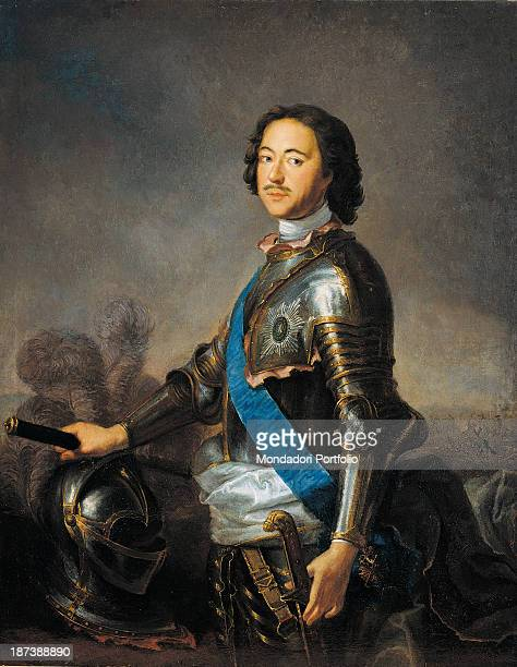 Russia Moscow Gosudarstvennyj Istoriceskij Muzej All The leader with moustache wears a suit of armor with helmet and sword a blue sash and...