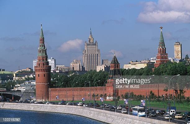 Russia Moscow Kremlin View of the fortified citadel from the Moskva River