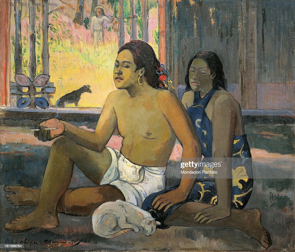 Russia, Moscow, Pushkin Museum of Fine Arts, All, A Tahitian boy smokes in a hut, a Tahitian girl sits behind him,