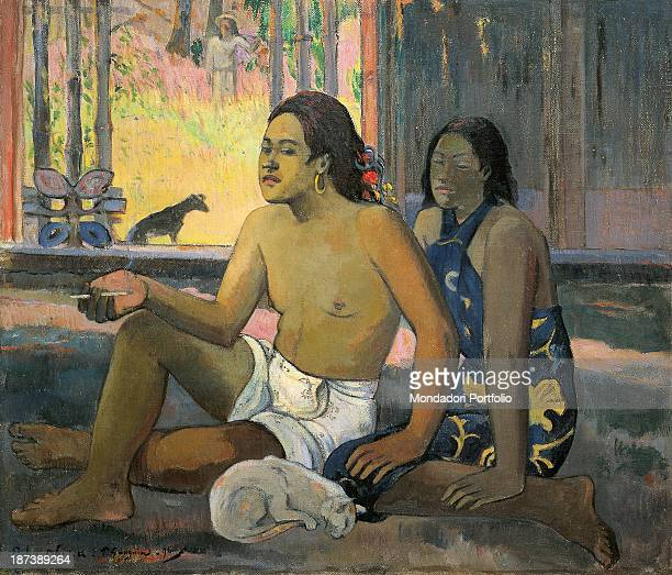 Russia Moscow Pushkin Museum of Fine Arts All A Tahitian boy smokes in a hut a Tahitian girl sits behind him