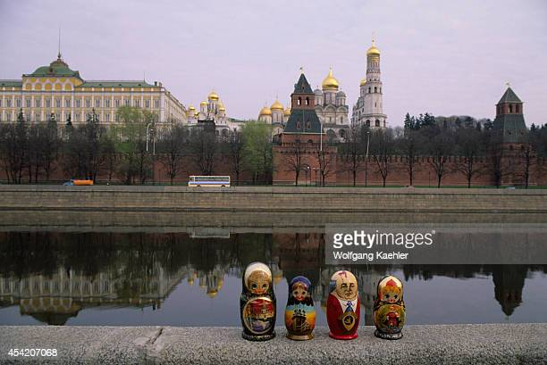 Russia Moscow View Of Kremlin Babushka Dolls In Foreground