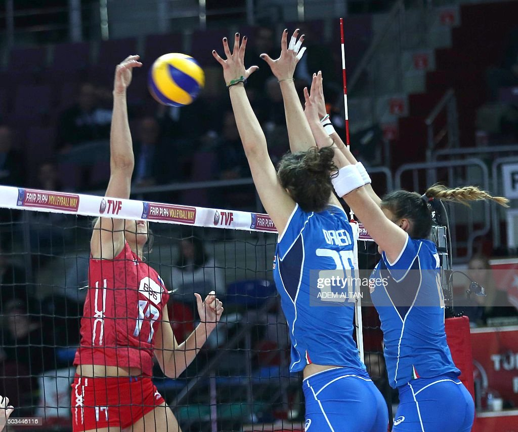 Russia Natalia Malykh vies with Italy Anna Danes during the Women's European Olympic Qualification volleyball match on January 5 2016 in Ankara / AFP...