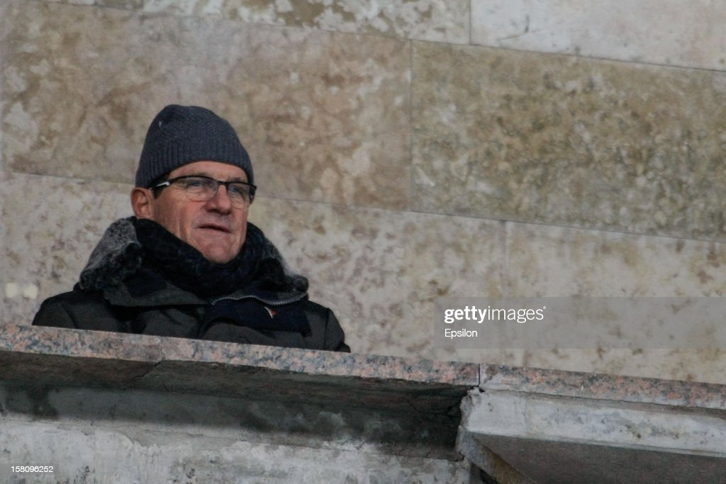 Russia national team head coach <a gi-track='captionPersonalityLinkClicked' href=/galleries/search?phrase=Fabio+Capello&family=editorial&specificpeople=241290 ng-click='$event.stopPropagation()'>Fabio Capello</a> attends the Russian Premier League match between FC Zenit St. Petersburg and FC Anzhi Makhachkala at the Petrovsky Stadium on December 10, 2012 in St. Petersburg, Russia.